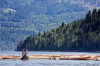 A logging boat on the coast Stock Photo - Royalty-Freenull, Code: 400-04991043