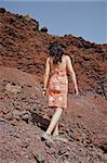 woman walking on volcanic rocks in tenerife spain Stock Photo - Royalty-Free, Artist: quintanilla                   , Code: 400-04991873