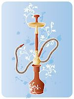 Vector image of hookah with floral pattern and grunge elements. Stock Photo - Royalty-Freenull, Code: 400-04993206