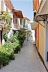 A narrow street in the island town of Lefkada, Greece Stock Photo - Royalty-Free, Artist: alexandr6868                  , Code: 400-04997625