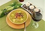Chunky pea and ham soup with croutons and ham with a parsley garnish. Stock Photo - Royalty-Free, Artist: jabiru                        , Code: 400-05002838