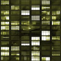 Voyeuring Office Building After Dark In Yellow Tones Stock Photo - Royalty-Freenull, Code: 400-05006405