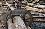Industrial metal log grabber in a lumber yard. Stock Photo - Royalty-Free, Artist: marilyna                      , Code: 400-05012351
