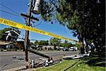 Destroyed power pole after an SUV crashed through it Stock Photo - Royalty-Free, Artist: karimala                      , Code: 400-05012668