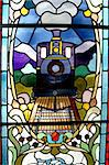 Stained glass window in Dunedin Train Station, New Zealand Stock Photo - Royalty-Free, Artist: oralleff                      , Code: 400-05016439
