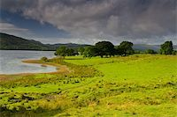 Cloudy stormy sky over the peaceful lake in Scotland  Stock Photo - Royalty-Freenull, Code: 400-05020258