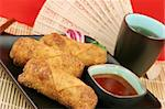 Crispy egg rolls served with tea. Stock Photo - Royalty-Free, Artist: lisafx                        , Code: 400-05021099