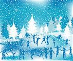 Christmas illustration; winter scene with silhouettes having fun Stock Photo - Royalty-Free, Artist: dip                           , Code: 400-05021380