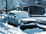 Car covered by snow after the blizzard. Special toned photo f/x Stock Photo - Royalty-Free, Artist: NiDerLander                   , Code: 400-05023658