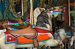 Details of carousel horse on merry go round