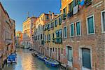 Typical canal in Venice with beautifully colored houses