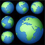 planet earth map from six views; illustration
