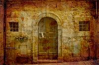 Artistic work of my own in retro style - Postcard from Italy.  Facade - Tuscany. Stock Photo - Royalty-Freenull, Code: 400-05043011