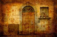 Artistic work of my own in retro style - Postcard from Italy. Nice facade -- Tuscany. Stock Photo - Royalty-Freenull, Code: 400-05044068