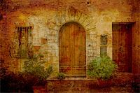 Artistic work of my own in retro style - Postcard from Italy. Doors - Montepulciano - Tuscany. Stock Photo - Royalty-Freenull, Code: 400-05044082