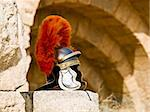 Roman Legionar's helmet on the wall with arches in Jerash, Jordan Stock Photo - Royalty-Free, Artist: dbajurin                      , Code: 400-05044522