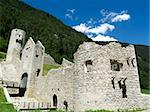 Beauty old ruins in italy. Blue sky and white clouds