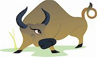 Illustration of a bull in anger about to hit Stock Photo - Royalty-Freenull, Code: 400-05049283