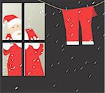 Santa clause looking at his trousers through window Stock Photo - Royalty-Free, Artist: maadesigns                    , Code: 400-05049724