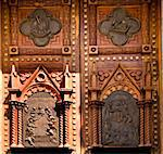 Wooden Church Doors with Metal Religious and Mexican Symbols and Decorations, Temple Expiatorio, Temple of Atonement, Guadalajara, Mexico