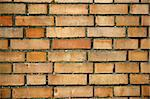 Red wall with bricks. Sunny day. Stock Photo - Royalty-Free, Artist: alionakuz                     , Code: 400-05060760