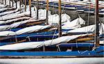 Many blue sailing boats in the marina