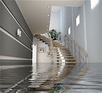 flooded homes - modern interior with stair under the water(3D) Stock Photo - Royalty-Freenull, Code: 400-05065019