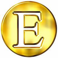 fancy letters - 3d golden letter E isolated in white Stock Photo - Royalty-Freenull, Code: 400-05072883