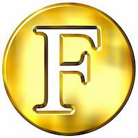 fancy letters - 3d golden letter F isolated in white Stock Photo - Royalty-Freenull, Code: 400-05072884