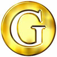 fancy letters - 3d golden letter G isolated in white Stock Photo - Royalty-Freenull, Code: 400-05072885