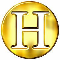 fancy letters - 3d golden letter H isolated in white Stock Photo - Royalty-Freenull, Code: 400-05072886