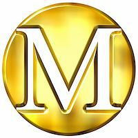 fancy letters - 3d golden letter M isolated in white Stock Photo - Royalty-Freenull, Code: 400-05072891