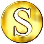 3d golden letter S isolated in white Stock Photo - Royalty-Free, Artist: Georgios                      , Code: 400-05072897