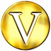 fancy letters - 3d golden letter V isolated in white Stock Photo - Royalty-Freenull, Code: 400-05072900
