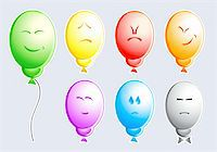 Set of color balloons with typical people emotions Stock Photo - Royalty-Freenull, Code: 400-05075226