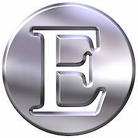 fancy letters - 3d silver letter E isolated in white Stock Photo - Roy