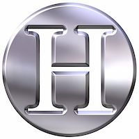 fancy letters - 3d silver letter H isolated in white Stock Photo - Royalty-Freenull, Code: 400-05076632