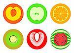 Apple, peach, orange, kiwi, strawberry and watermelon in 2 (or 3)-colored symbols