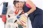 woman carpenter with work tools on wooden plank Stock Photo - Royalty-Free, Artist: vladacanon                    , Code: 400-05085852