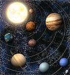 An illustration of our solar system. Maps from http://planetpixelemporium.com/  Stock Photo - Royalty-Free, Artist: Krisdog                       , Code: 400-05099231