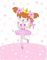 A vector illustration of a happy little princess over   pink background Stock Photo - Royalty-Freenull, Code: 400-05107334