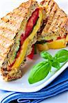 Grilled cheese and tomato sandwich on a plate Stock Photo - Royalty-Free, Artist: Elenathewise                  , Code: 400-05111358