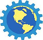 An illustration of globe whith a gear Stock Photo - Royalty-Free, Artist: Moreauxjeje                   , Code: 400-05111508