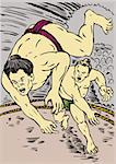 Illustration on the sport of sumo wrestling Stock Photo - Royalty-Free, Artist: patrimonio                    , Code: 400-05111652