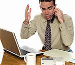 Stressed accountant talking on his cell phone, isolated against a white background