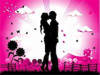 Couple kisses on a meadow, black silhouette Stock Photo - Royalty-Freenull, Code: 400-05122656