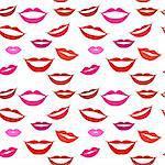 Seamless background lips, smiles