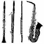 Woodwind musical instruments set in detailed vector silhouette Stock Photo - Royalty-Free, Artist: lhfgraphics                   , Code: 400-05123833