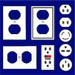 Electrical outlets and faceplates in glossy white - vector set Stock Photo - Royalty-Free, Artist: lhfgraphics                   , Code: 400-05123843