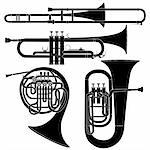 Brass musical instruments set in detailed vector silhouette Stock Photo - Royalty-Free, Artist: lhfgraphics                   , Code: 400-05123875